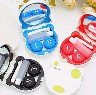 Free Shipping Good Quality Color Dots Bear Contact lenses box, lens Companion box