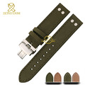 Genuine leather bracelet watch strap Handmade mens watchband Nubuck wristwatches band 20mm 22mm accessories Butterfly buckle