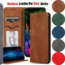 Luxury Business PU Leather Case For Sony XZ4 Compact XA3 Ultra Vintage Flip Card Slot Magnetic Phone Bag Xperia 10 Plus