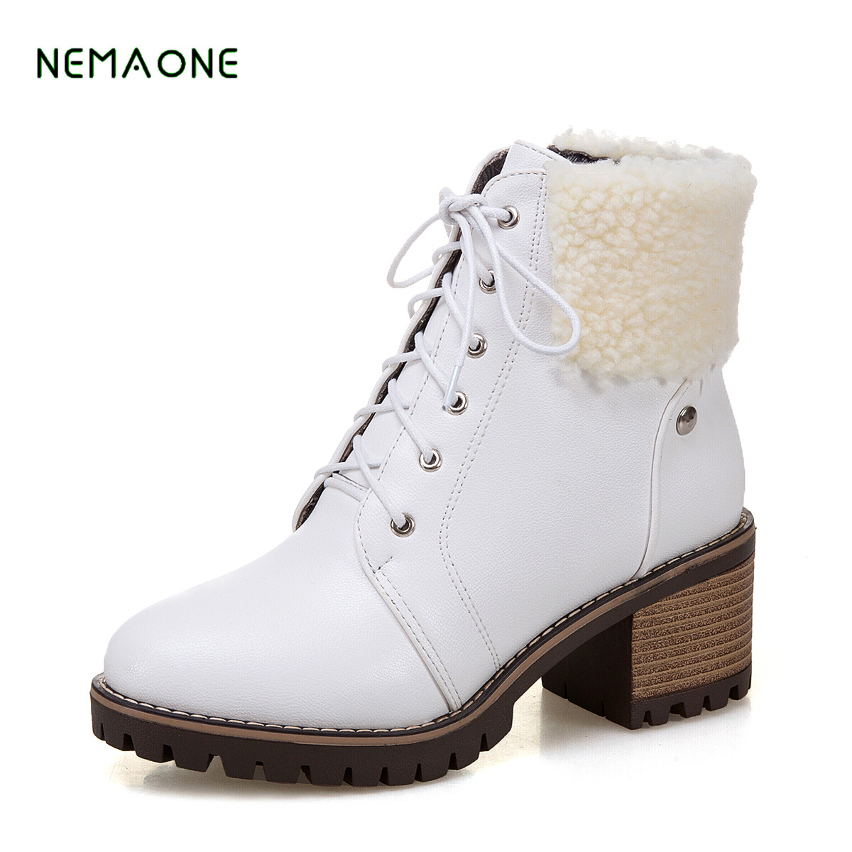 NEMAONE Women Ankle boots Shoes Strap Med Heels Boots Ladies Zip Female casual Boots Rivet Autumn Spring 2018 New 2017 spring new women sweet floral embroidery pastoralism denim jeans pockets ankle length pants ladies casual trouse top118