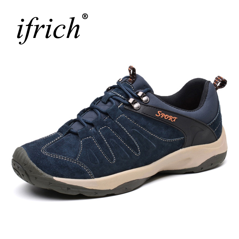 2019 Hiking Shoes Mens Sport Shoes Sneakers Autumn/Winter Men Trekking Boots Leather Walking Sneakers Sport Climbing Shoes 2017 new mens hiking shoes black blue walking shoes men autumn winter outdoor sport sneakers high top leather trekking shoes men