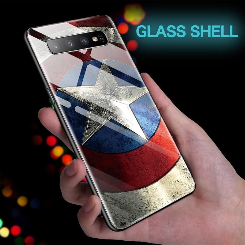 Marvel Captain America Glass Phone Case For Samsung Galaxy S10 E 5G S9 S8 Plus Note 10 9 8 Plus Pro Iron Man Batman Cover Funda