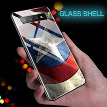 Marvel Captain America Glass Phone Case For Samsung Galaxy S10 e 5G S9 S8 Plus Note 10 9 8 Plus Pro Iron Man Batman Cover Funda(China)