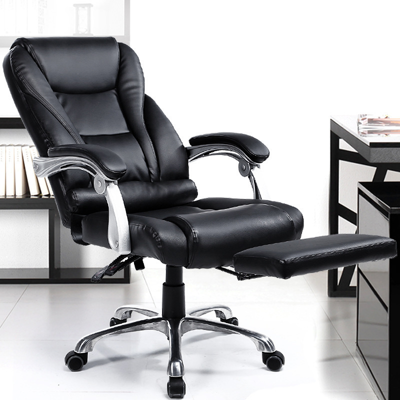And Comfortable Office Computer Armchair Ergonomic Lying Boss Chair Household Leather Seat Aluminum Foot With Footrest
