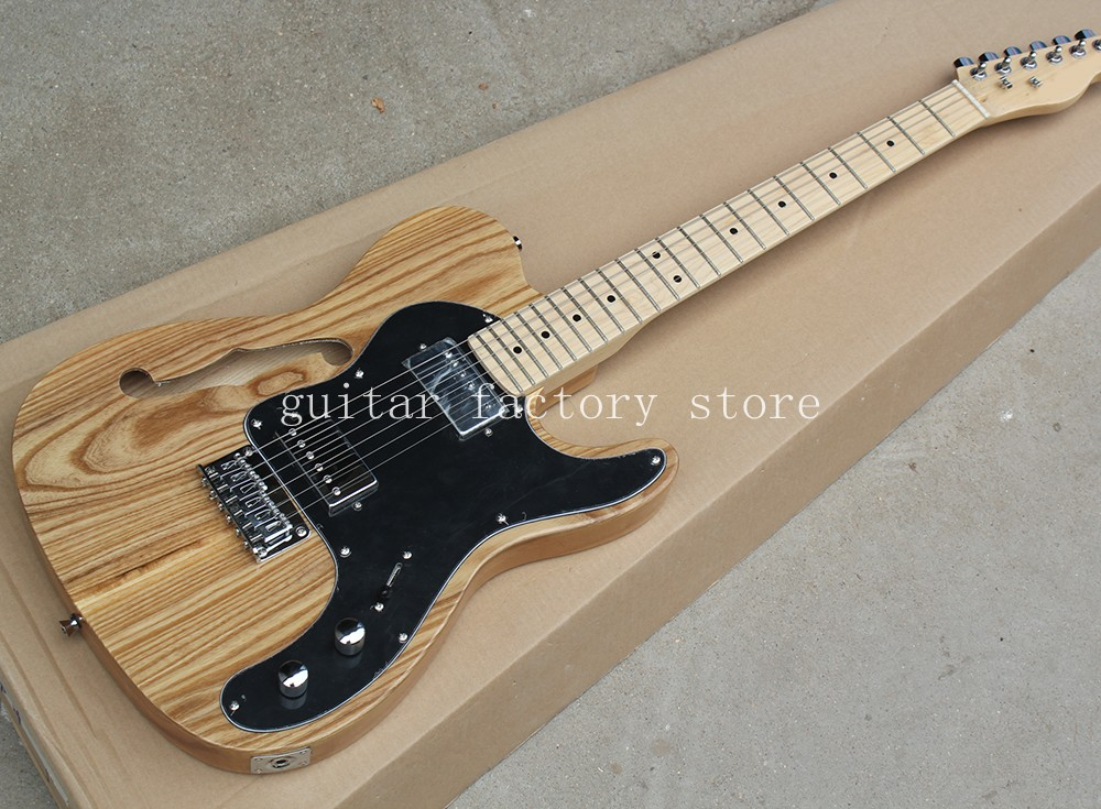 Custom shop telecast electric guitar,ash wood body,maple fingerboard,nature glossy finish,high quality tl guitar,free shipping