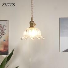 Nordic led E27 Pendant Light children room minimalist glass fresh literary small crown hang lamp
