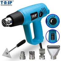 TASP 2000W Hot Air Gun Electric Heat Gun Variable Temperature 60~600C 3 Temp Settings 5 Nozzles & Scraper Power Tools