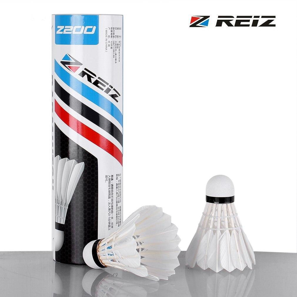 REIZ 6pcs/set Z200 Portable Training Level Badminton Shuttlecocks White Duck Feather Training Badminton Ball With A Box Hot