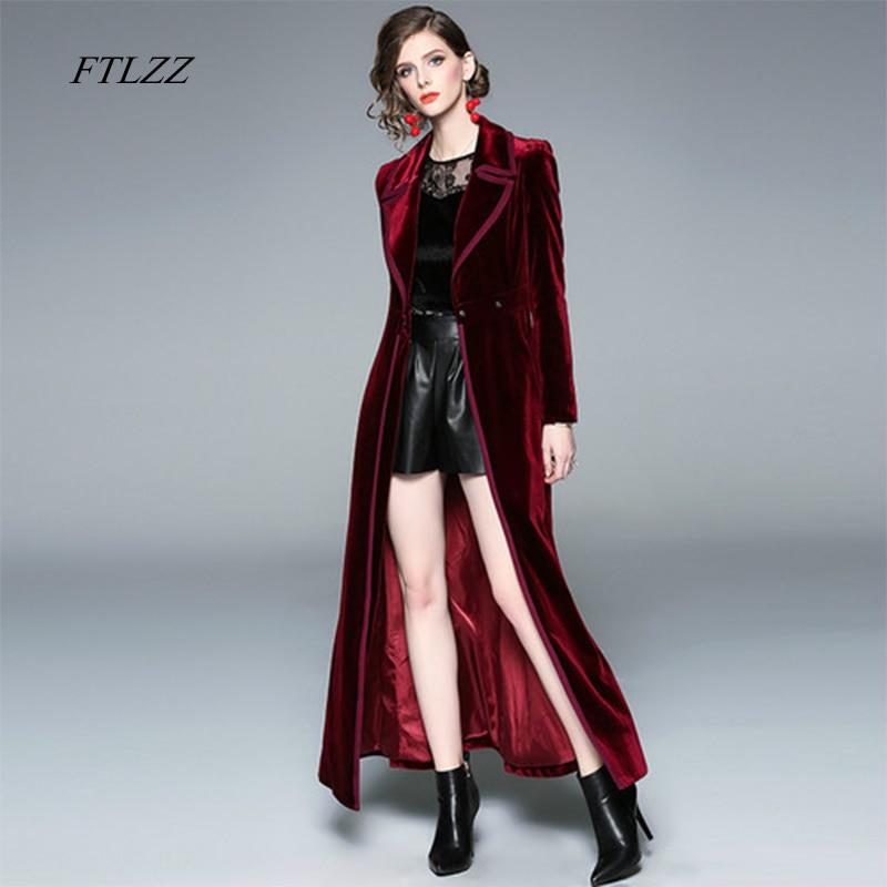 FTLZZ Women Vintage Notched Collar Wrap Black Velvet Maxi Coat Thick Warm Long   Trench   Coat Outwear