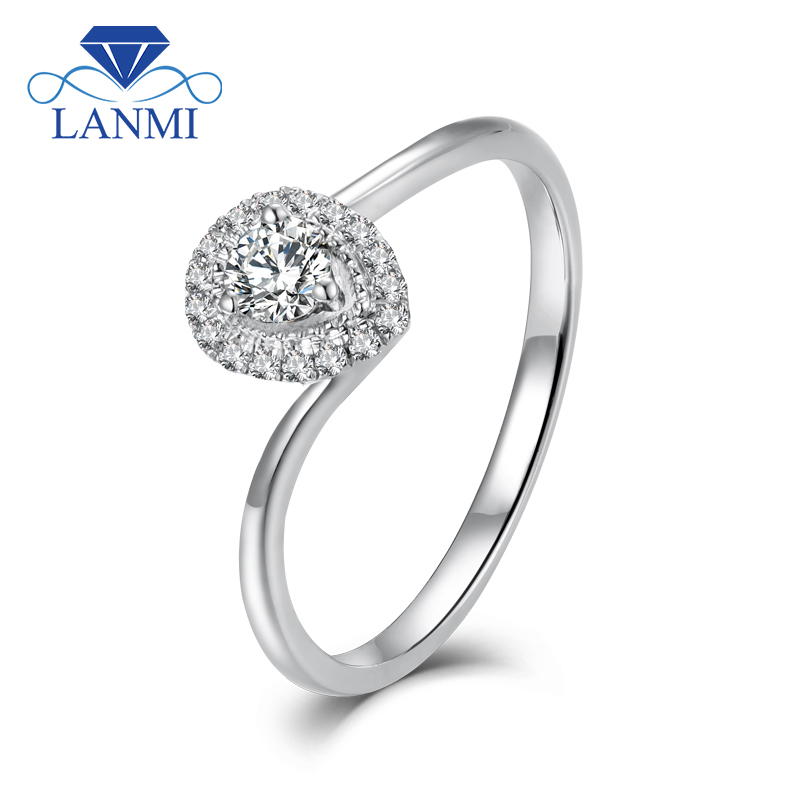 LANMI Solid 18K/AU750 White Gold Real Diamond Wedding Rings Pear Shape Christmas Fine Jewelry for Women d200mm white glass round ball shade fabric wire pendant lamp fixture brass drop modern home lighting bedroom cafe decoration