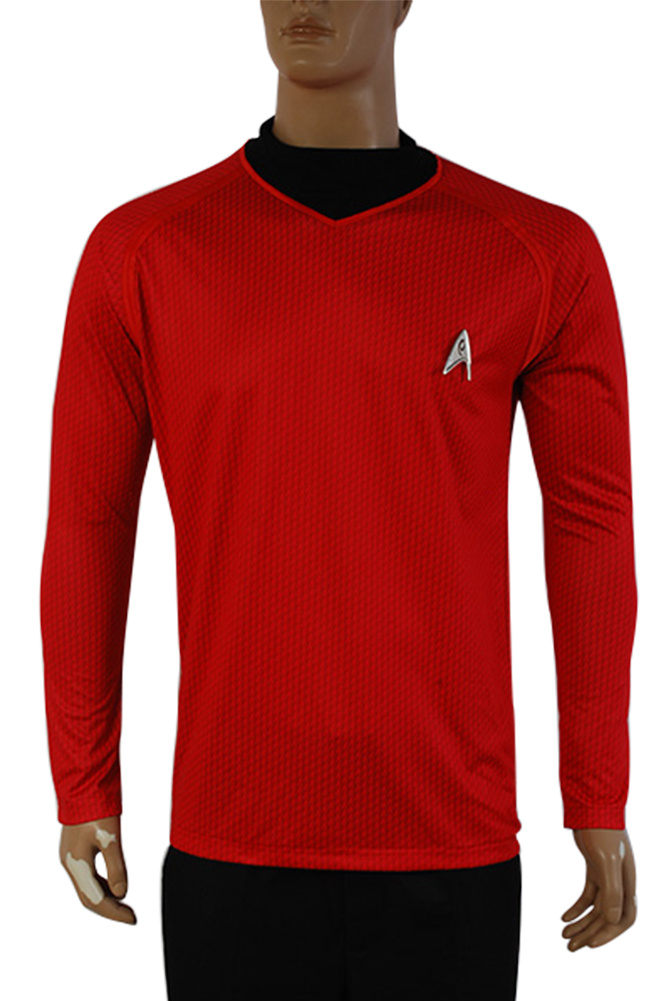 Star Trek Into Darkness Starfleet Captain Kirk Spock Costume Suit Shirt Uniform Halloween Carnival Adult Men Red Shirt tops