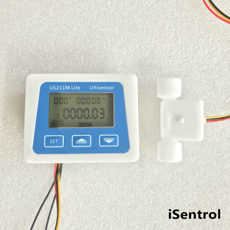 US211M Lite Digital Flow Meter 5V Flow Reader Compatible with all our hall effect water flow sensor with usn-hs21ts-2 0.3-4LPM все цены