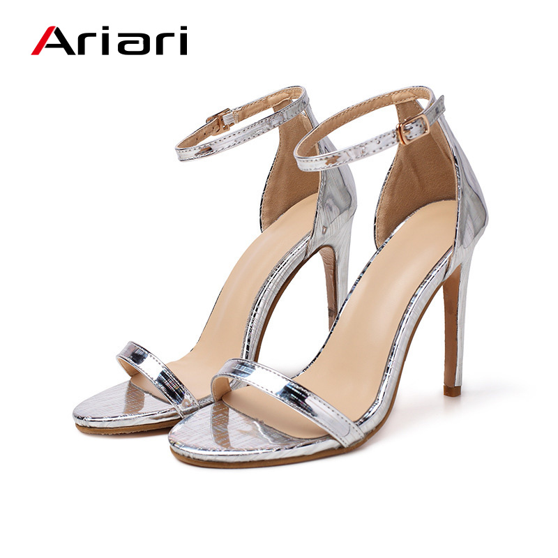 Ariari Women Pumps 8cm High Heels Silver Sexy High Heels Shoes for Women Buckle Staple Fashion Wedding Party Shoes 2019 big toe sandal
