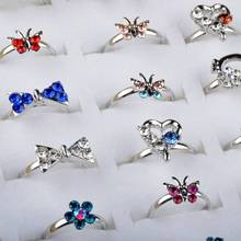 5pcs Wholesale Mixed Heart Bow Shape Crystal Children Kids Silver Rings Tail Ring Adjustable Size Assorted Lot Party Jewelry