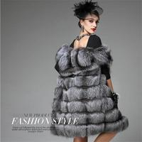 faux fur 2018 new long faux fur coat women's fur vest integral skin silver fox import fox fur coat big yards long section