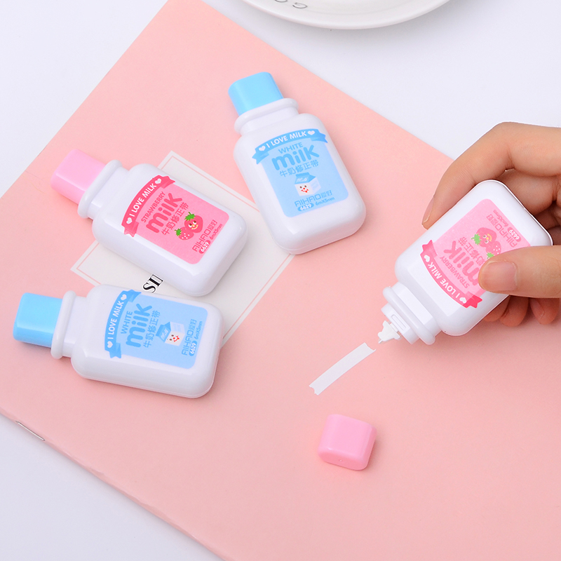 4 pcs/lot Kawaii Cute Milk Correction Tap Creative Corrector For Kids School Office Supplies Stationery 5mm*6m image