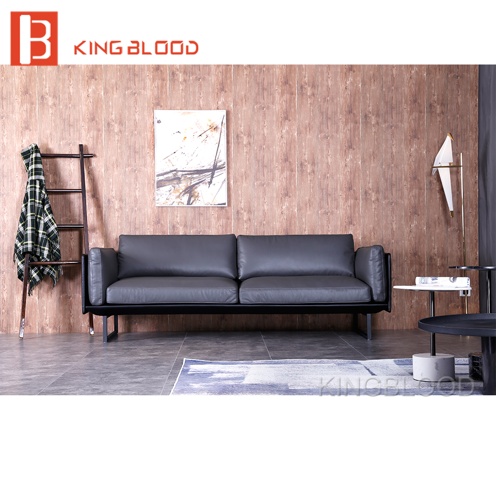 Chinese Living Room Furniture: Buy Sofa From China Pure Grey Leather Living Room