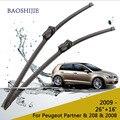 """Escovas para Peugeot Partner (2009-), 208 (2012-) e 2008 (2013-) 26 """"+ 16"""" fit botão tipo de braços do limpador"""