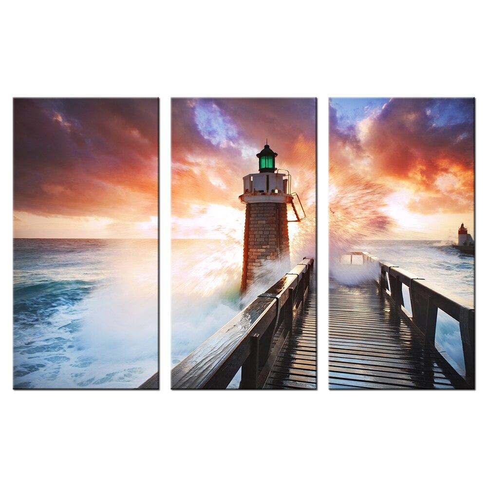 Kumsal duvar boyas rengi ile modern ve k ev dekorasyonu - B Y K Deniz Feneri Deniz Dalgalar Tuval Duvar Sanat Boyama Modern G Nbat M Manzaras Resimlerin Duvar Dekor Oturma Odas