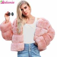 ESDAMIER Fluffy Faux Fur Coat Women Short Furry Fake Fur Short Winter Crop Jacket Female Plus Size Women Casual Party Outerwear