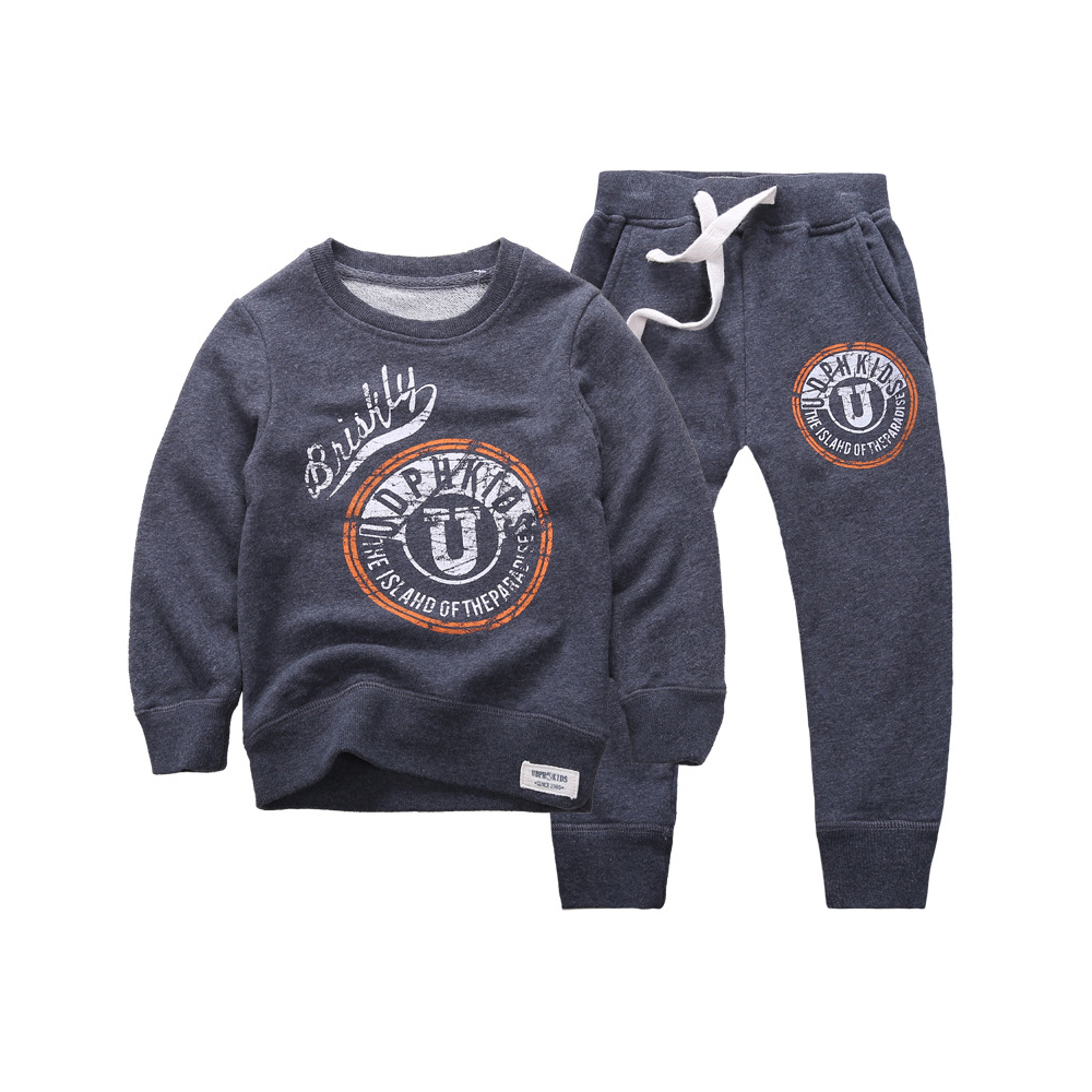 2015 New Autumn Winter kids Boy/Girls Sweatshirts hoodies Set Cotton Letter printed Crew Neck for Wholesale&Retail Good quality
