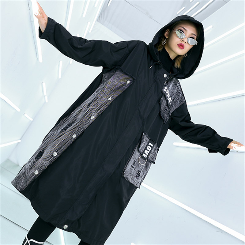 vent Denim Trench Taille Automne Couture Printemps Long Femmes Manteau 2019 Lavé Grande Capuche À Coréen Coupe Vêtements Black Lettres coat Poche twfPZAAq