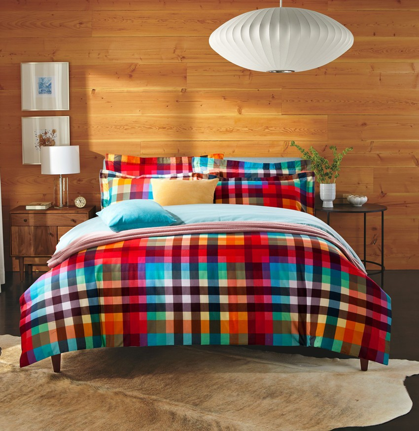buy cozzy blue orange stripe plaid sanding cotton 4 pcs bedding set duvet cover trimmed bed sheet 2 pillowcases queen king size from
