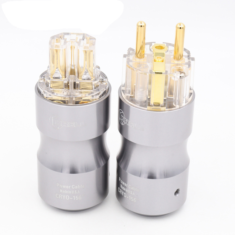 1 pair Hifi audio 24K Gold plated Transparent Krell EU Schuko version AC cords power plug IEC connector for DIY power cable стоимость