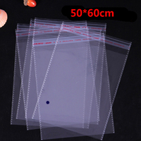 100 Pcs 50 60cm Or 60 80cm Transparent Self Adhesive Seal Poly Plastic Bags Crystal Clear