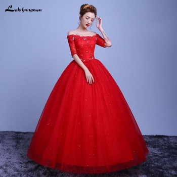 Red Boat Neck Floor Length White wedding dresses half Sleeve Lace Up Bridal Ball Gown Sweet 16 Dresses Ball Gowns