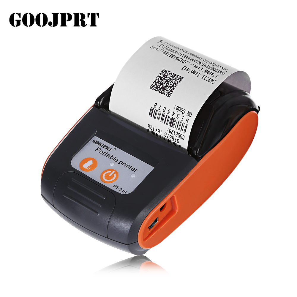 GOOJPRT PT - 210 58MM Portable Bluetooth Thermal Printer Wireless Receipt Machine For Windows Android IOS Phone Printing goojprt mtp ii 58mm bluetooth thermal printer портативная беспроводная приемная машина для windows ios