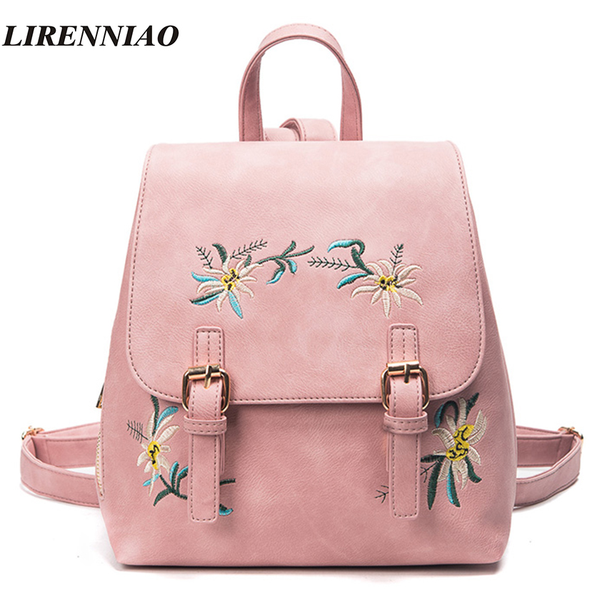 Fashion Flowers Backpacks For Teenage Girls Hot Embroidery Women Bag Cute Back Pack High Quality Pu
