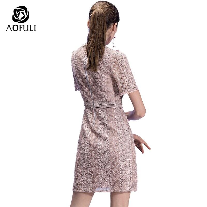 AOFULI S XXXL 4XL 5XL Sexy Ladies Lace Casual Dress Plus Size Women Short Lace  Dress 2018 Summer Fashion Brand Vestidos 3013-in Dresses from Women s ... eb210e9349a3