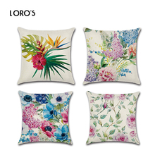 Flower Pillow Case Linen Cushion Cases Cover Chair Bedroom Home Office Decorative Bird plant Pillow Case Candy Colorful Covers