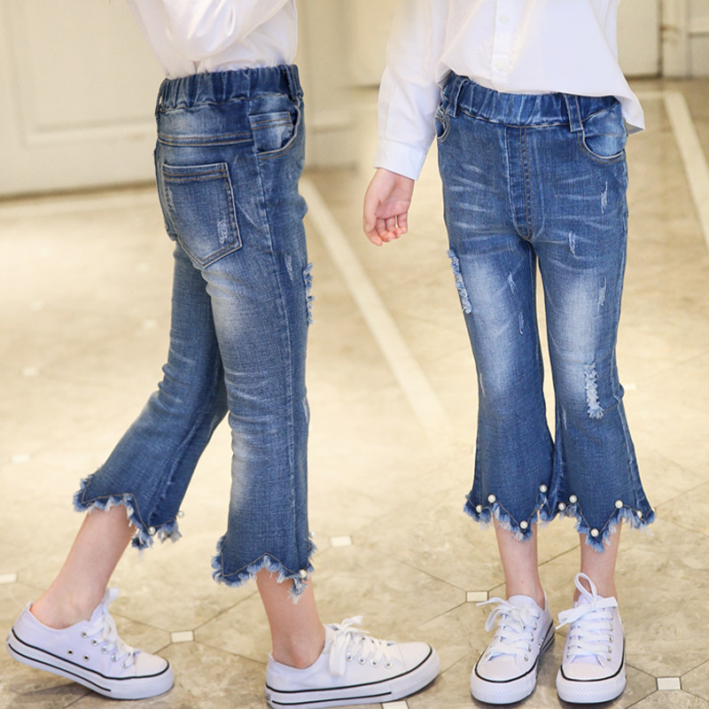 Fancy Girls Denim Trumpet Pants With Beaded Hole Jeans Girls Denim Ripped Jeans Pants Trousers High Quality Girl Summer Jeans 2