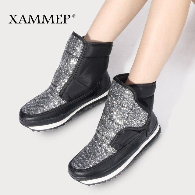 Xammep frauen Winter Schuhe Große Größe Hohe Qualität Marke Frauen Schuhe Plüsch Und Wolle Warmful Frauen Winter Stiefel Mid kalb Stiefel