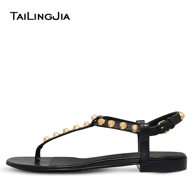 bcc9b8d53 Giant Studs Flats Black Sliver T-bar Beach Shoes Flat Thong Sandals for  Women Strappy Vacation Studded Shoes Large Size 2018
