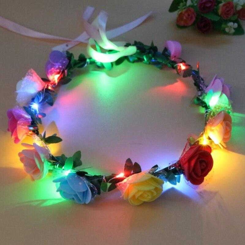 Femmes Filles led Clignotant bandeau fleuri Garland Lumineux Guirlande Florale Glow Party Concert décoration de mariage Halloween