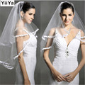 Free shipping flowers one layer 1.3m white ivory red pink bridal veil tulle wedding veils TS034