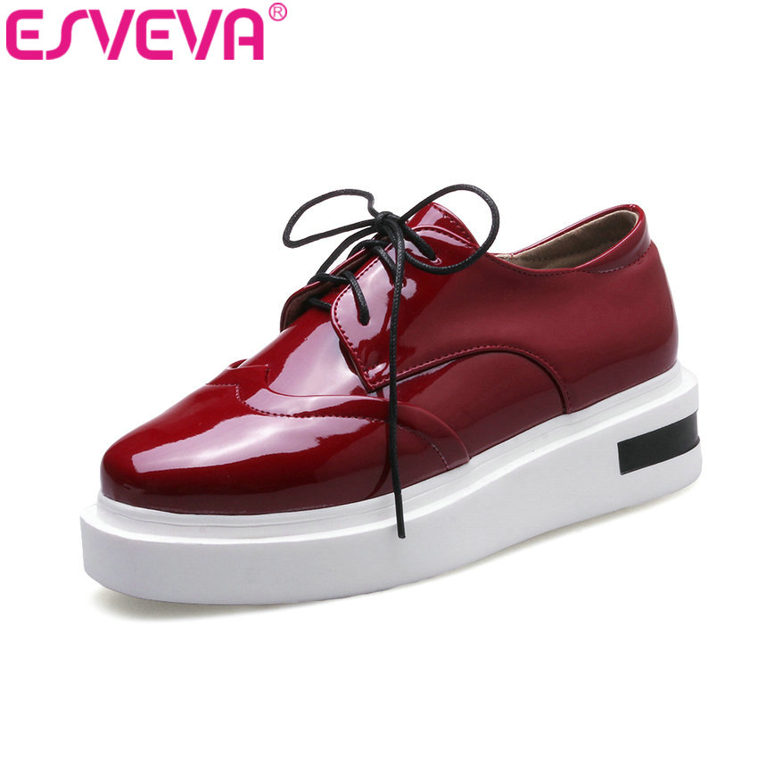 ESVEVA 2017 British Style Casual Shoes Women Pump Platform Round Toe Lace Up Fashion Shoes Wedges Med Heel PU Pumps Size 34-43