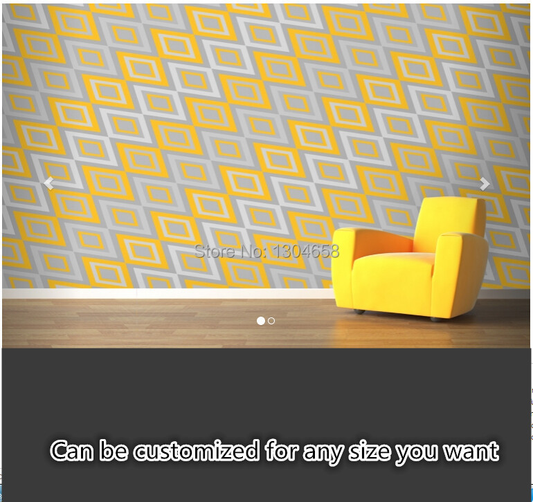 Free shipping custom large murals sitting room bedroom TV background wallpaper Yellow Geometric Design Wall Mural silk fabric