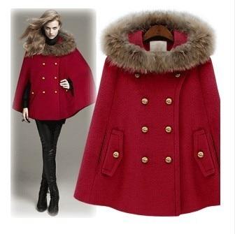 Outono e inverno nova moda casaco de lã de guaxinim casaco de pele estilo britânico de lã capa outerwear mulheres casaco feminino