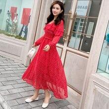 94b1487fbd 2018 New Autumn Women dress Full Sleeve Polka Dot Chiffon Super Net Clothes  Dresses Red Black 6686