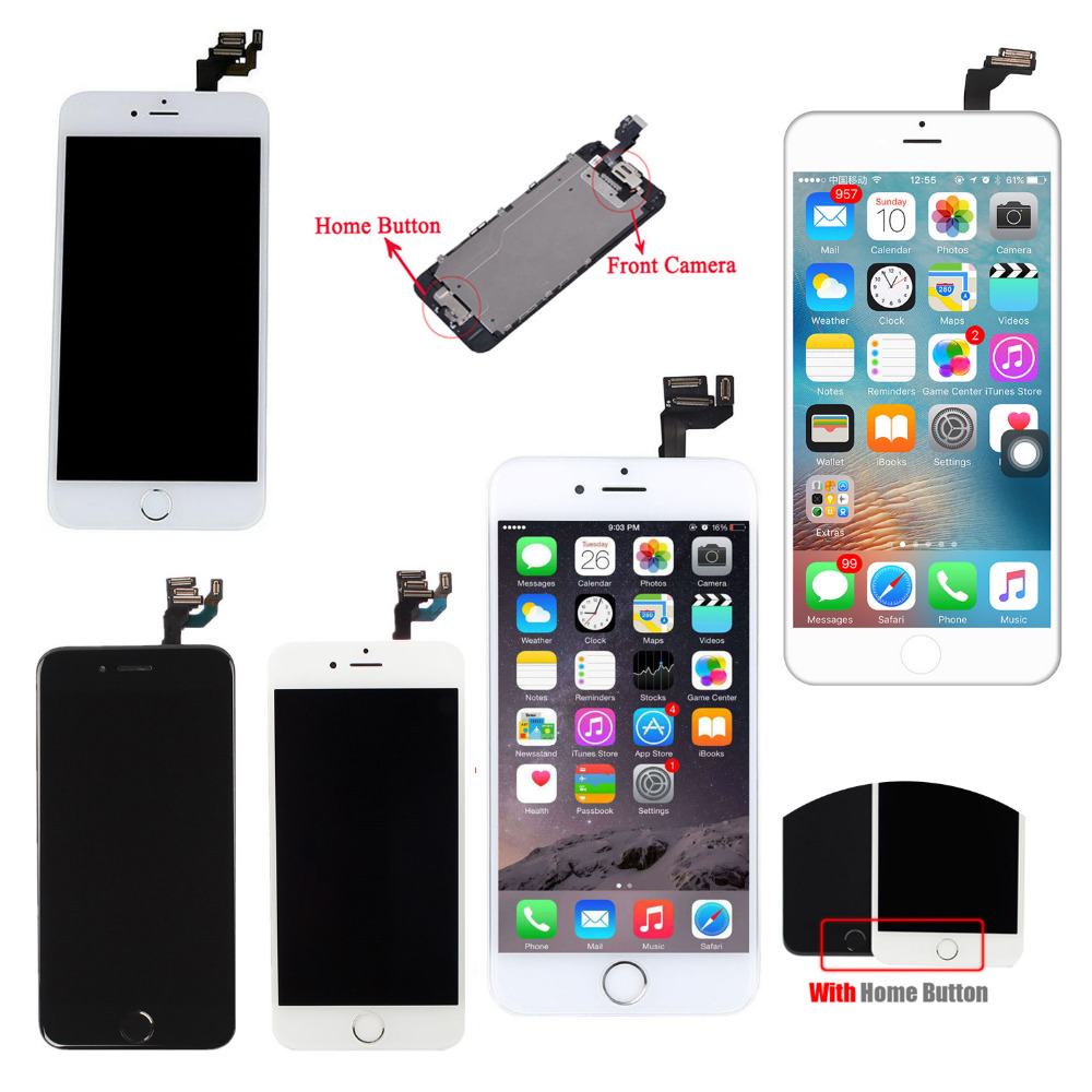 A+ LCD For iPhone 6/6S Plus 5S LCD Lens Touch Screen Display Digitizer Assembly Replacement+Front Camera+Home Button+Ear Speaker