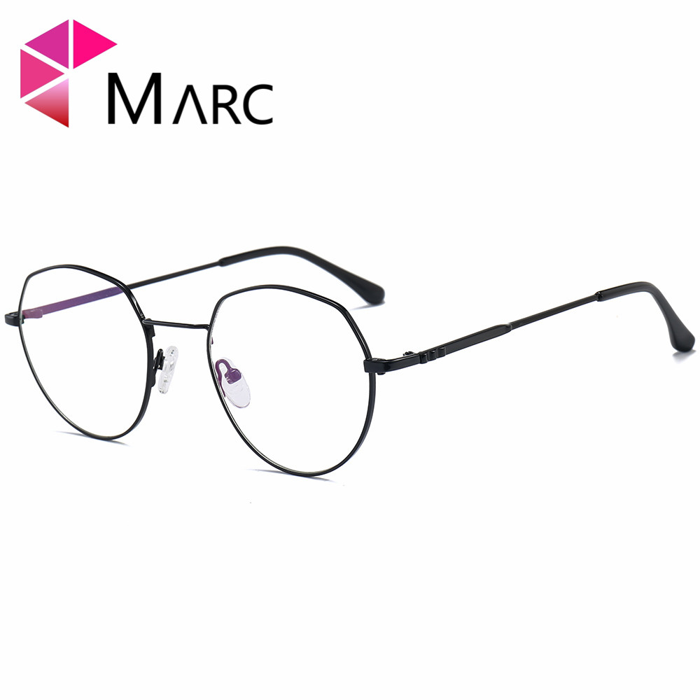 MARC 2018NEW Glasses Frame WOMEN Men Vintage Metal Lens Glasses Optical Glasses Plain Alloy Resin solid Frame Clear 1065 in Men 39 s Eyewear Frames from Apparel Accessories