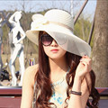 Encaje Boda Del Verano Gran sombrero de Ala Ancha sombreros Para WomenHollow UV Tapas de Malla Transpirable Sombrero de Playa Femenino Hueso pamelas párr boda Gorros