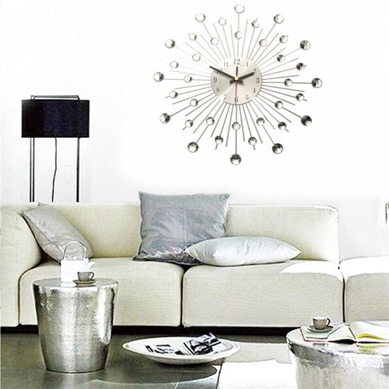 Charminer Metall Wanduhr Mode Moderne Dekoration Uhr Mit Strass Luxus Wohnzimmer Kunst Silber In