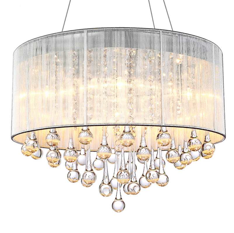 Modern brief fashion crystal chandeliers light fixture home deco living room fabric lampshape LED E14 bulb chandelier lamp