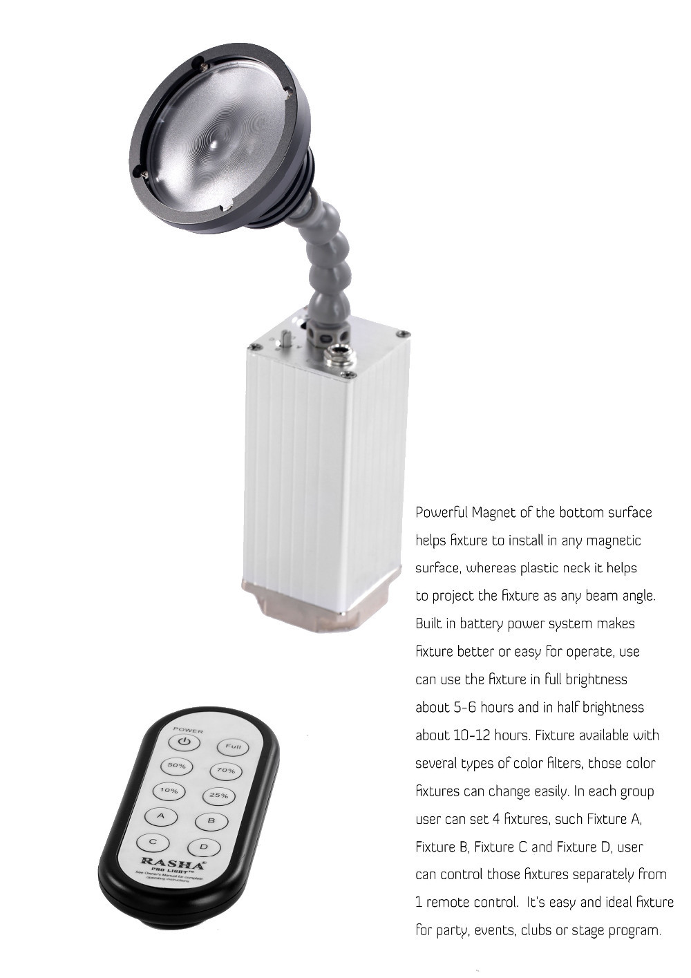 Rasha New 10W Zoom Battery Powered LED Pinspot Light With IR Remote Control,ED Flashlight With Magnetic With 10in1 Charging Case