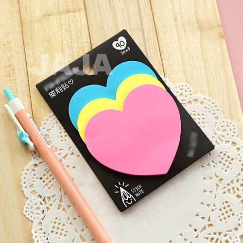 1PC Kawaii Colorful Memo Pad Heart Shape Sticky Note Diary Memos Stationery Office Escolar School Supplies(dd-1268)